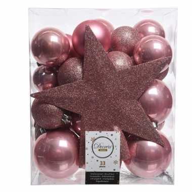 Luxe kerstballen pakket + piek oud roze kunststof 33 stuks