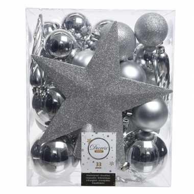 Luxe kerstballen pakket + piek zilver kunststof 33 stuks