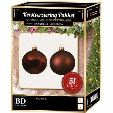Mahonie bruine kerstballen pakket 51-delig voor 120 cm boom