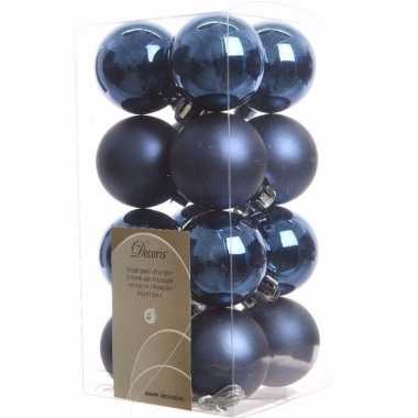 Mystic christmas kerstboom decoratie kerstballen blauw 16 stuks