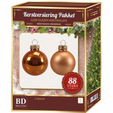 Oranje kerstballen pakket 88-delig christmas christmas autumn sunset glass