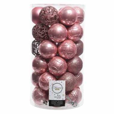 Oudroze kerstballen set 6 cm 36 stuks