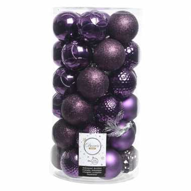 Paarse kerstballen set 6 cm 36 stuks