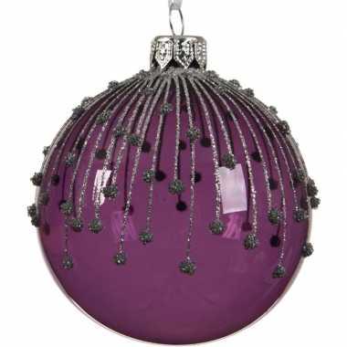 Paarse kerstversiering kerstballen met glitterlijnen van glas 8 cm