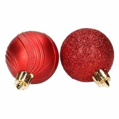 Rode kerstballen glitter en mat