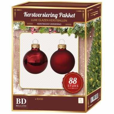 Rode kerstballen pakket 88-delig christmas red combi glass