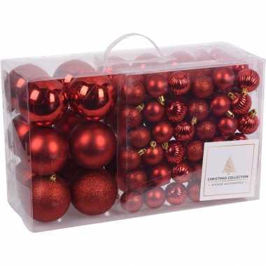 Rode kerstballen pakket 94-delig van kunststof