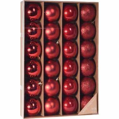 Rode kerstballen set 24 stuks 6 cm