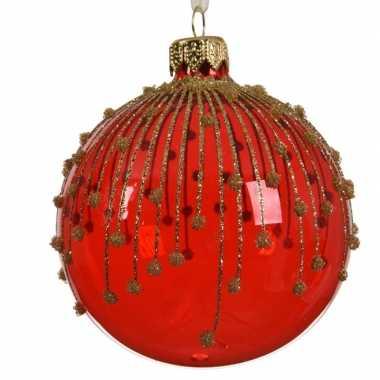 Rode kerstballen transparant 8 cm