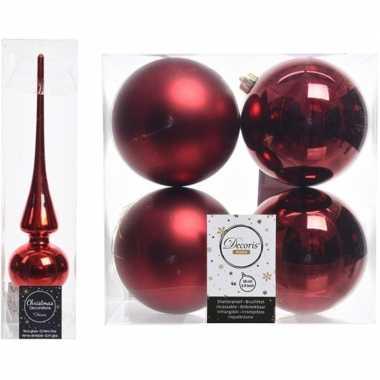 Rode kerstversiering/kerstdecoratie set piek en 4x kerstballen 10 cm