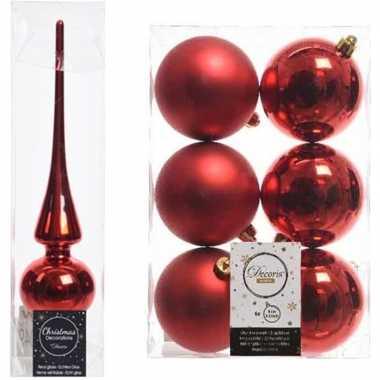 Rode kerstversiering/kerstdecoratie set piek en 6x kerstballen 8 cm g