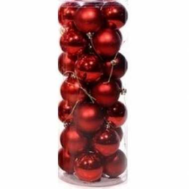Rode voordelige kerstballen rood 28 stuks 6 cm