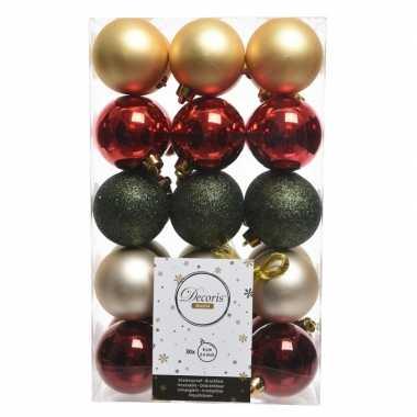 Rood/goud/groene kerstballen set 6 cm