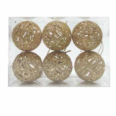 Rotan kerstversiering kerstballen goud met glitter 5 cm