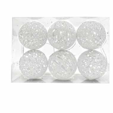 Rotan kerstversiering kerstballen wit met glitter 5 cm