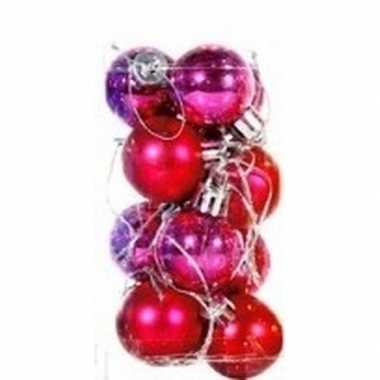 Roze kerstballen 12 stuks 3 cm