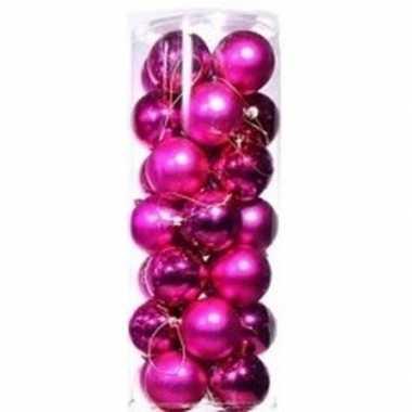 Roze kerstballen 28 stuks 6 cm