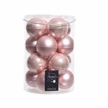 Roze kerstballen van glas 8 cm