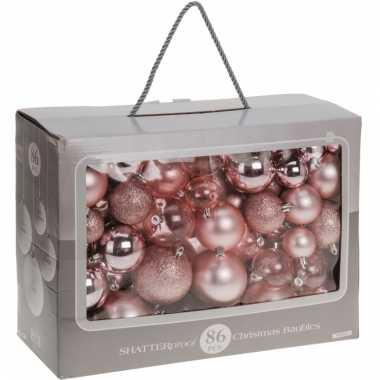 Roze kerstballenset 86 delig