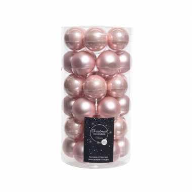Roze kerstballenset glas 36 stuks