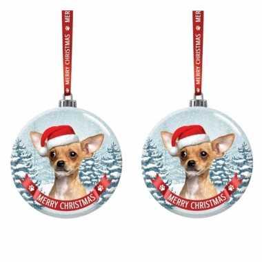 Set van 3x stuks glazen kerstballen hond chihuahua 7 cm