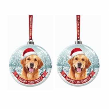 Set van 3x stuks glazen kerstballen hond golden retriever 7 cm