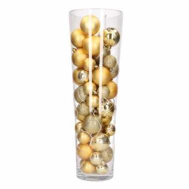 Sfeerverlichting vaas met goudkleurige kerstballen