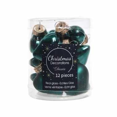 Smaragd groene kerstballen hartvorm 4,5 cm