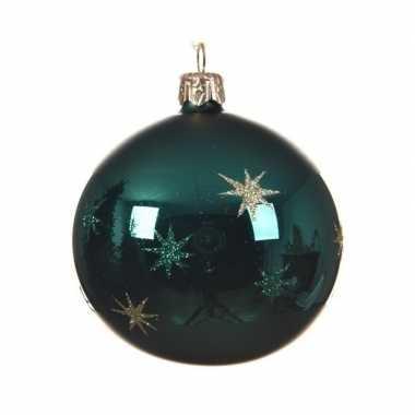 Smaragd groene kerstballen met sterren 8 cm