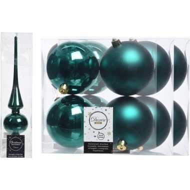 Smaragd groene kerstversiering/kerstdecoratie set piek en 12x kerstba