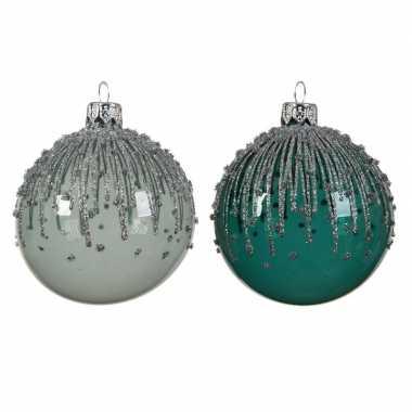 Smaragd/mintgroene kerstballen transparant 8 cm