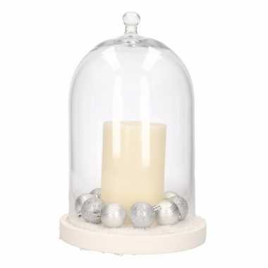 Stolp met ivoor led kaars en zilveren kerstballen