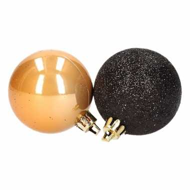 Stylish christmas 12 delige kerstballen set zwart goud