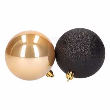 Stylish christmas 6-delige kerstballen set zwart/goud