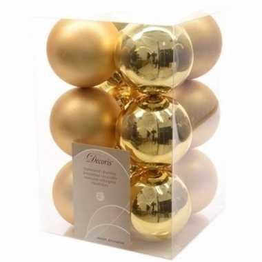 Sweet christmas kerstboom decoratie kerstballen goud 12 stuks