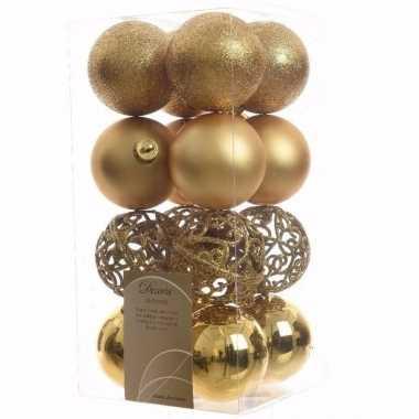 Sweet christmas kerstboom decoratie kerstballen goud 16 stuks