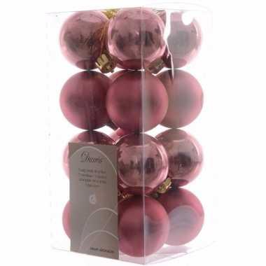 Sweet christmas kerstboom decoratie kerstballen oud roze 16 stuks 10097152