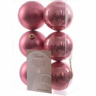 Sweet christmas kerstboom decoratie kerstballen oud roze 6 stuks