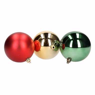 Traditional christmas 12 delige kerstballen set rood groen
