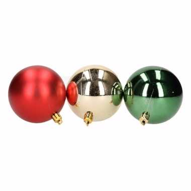Traditional christmas 6-delige kerstballen set rood/groen