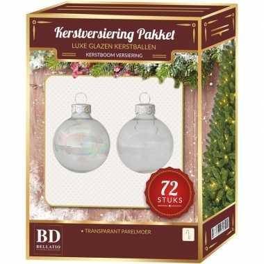 Transparant parelmoer kerstballen pakket 72 delig christmas clear pearl glass