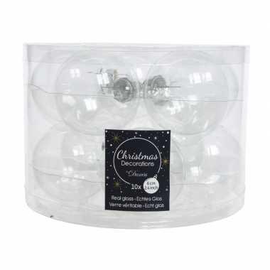 Transparante kerstballenset glas 10 stuks