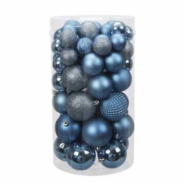 Tube 60x blauwe kunststof kerstballen 4 -7 cm glans/mat/bewerkt