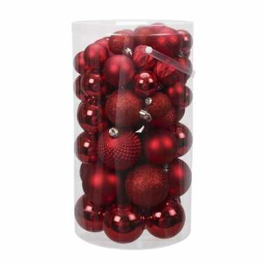 Tube 60x rode kunststof kerstballen 4 -7 cm glans/mat/bewerkt