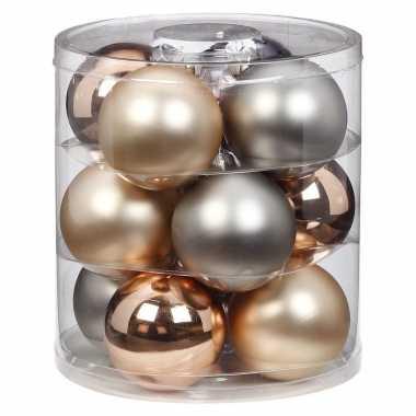 Tube met 12x champagne/zilveren kerstballen van glas 8 cm glans en mat