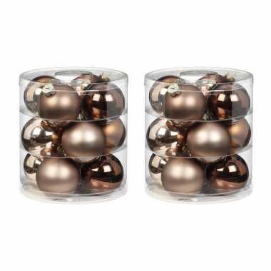Tube met 24x bruine/champagne/gouden kerstballen van glas 8 cm glans en mat