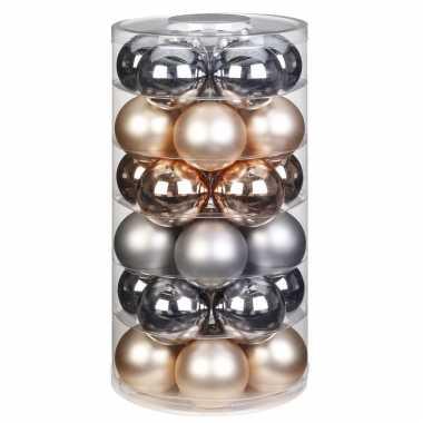 Tube met 30x champagne/zilveren kerstballen van glas 6 cm glans en mat