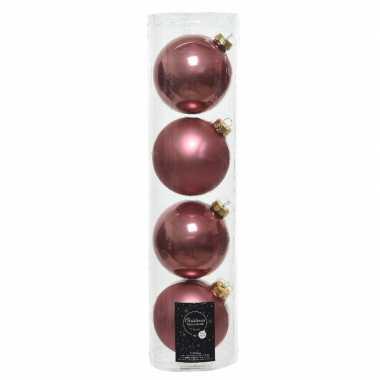 Tube met 4 oud roze kerstballen van glas 10 cm glans en mat