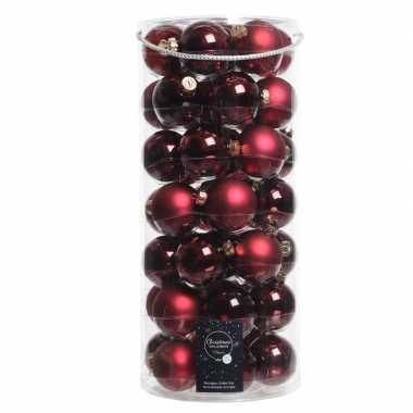 Tube met 49 donkerrode kerstballen van glas 6 cm