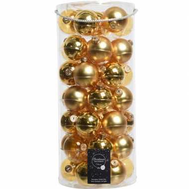 Tube met 49 gouden kerstballen van glas 6 cm